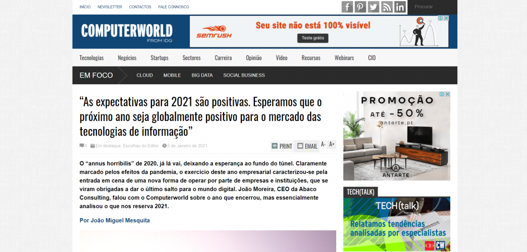 """Computer World – """"As expectativas para 2021 são positivas"""""""