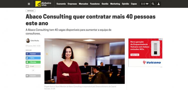 Dinheiro Vivo – Abaco Consulting quer contratar mais 40 pessoas este ano