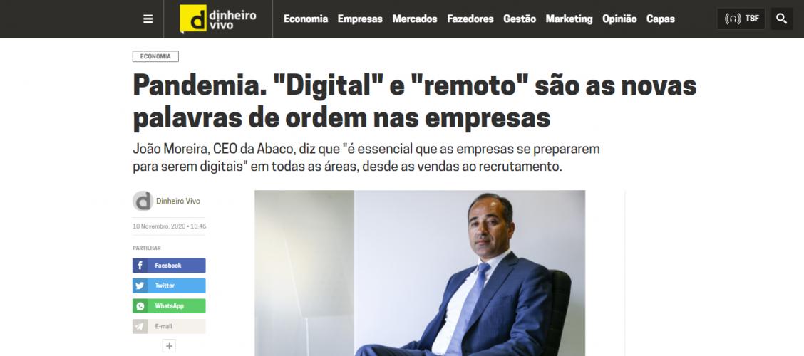 """Dinheiro Vivo – """"Digital"""" e """"remoto"""" são as novas palavras de ordem nas empresas"""